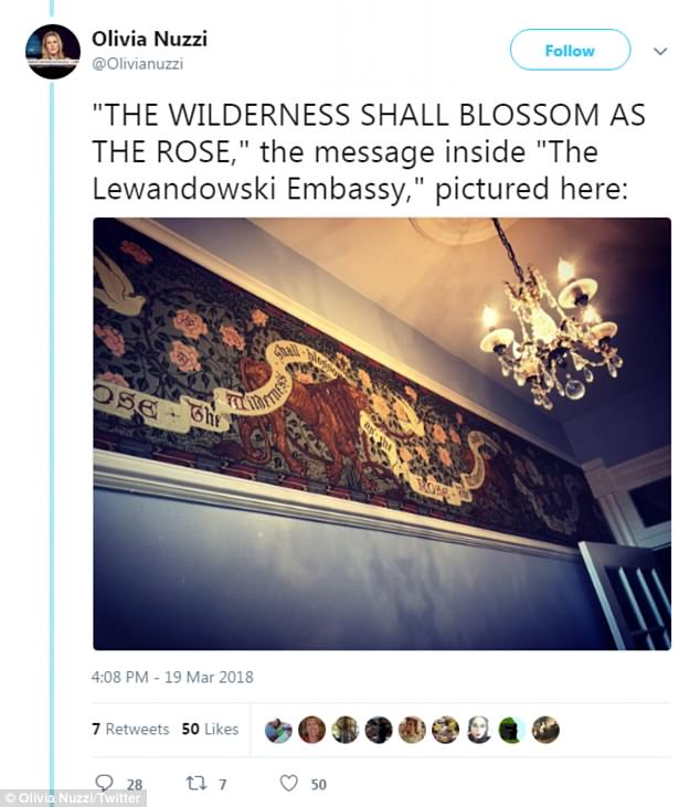 In her story for New York Magazine, Olivia Nuzzi describes the ornate wall hanging found just inside the townhome where Corey Lewandowski lives. In an interview with Columbia Journalism Review, Nuzzi cops to taking a picture of it upon entering the building by herself